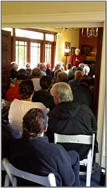 Over 80 people packed the Schmidt House for our first history talk of the season.